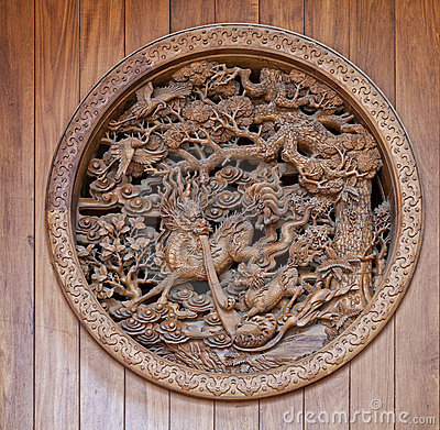 Chinese wooden carving with dragon