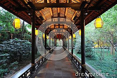 Chinese wooden corridor