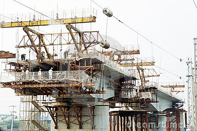 Chinese worker construction railway bridge Editorial Photography