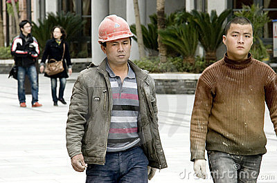 Chinese workers Editorial Image