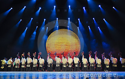 Chinese Yi ethnic dancers Editorial Stock Photo