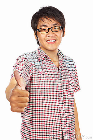 Chinese young adult with thumb up