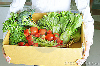 Chinese young wife and vegetables