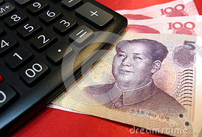 Chinese yuan with calculator