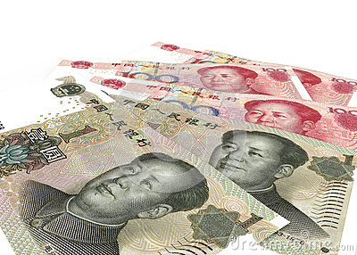 Chinese yuan renminbi (RMB) banknotes close up