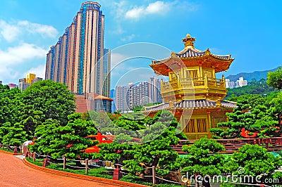 Chinese zen garden and pagoda
