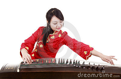 Chinese zither performer