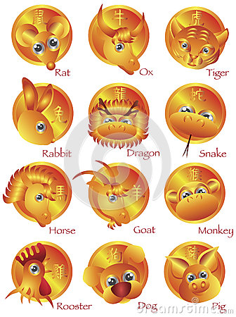 Free Chinese Zodiac 12 Animals In Gold Circle Stock Image - 26879941