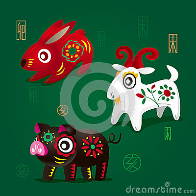 Free Chinese Zodiac Mascots: Rabbit, Ram And Pig Stock Photos - 30178313