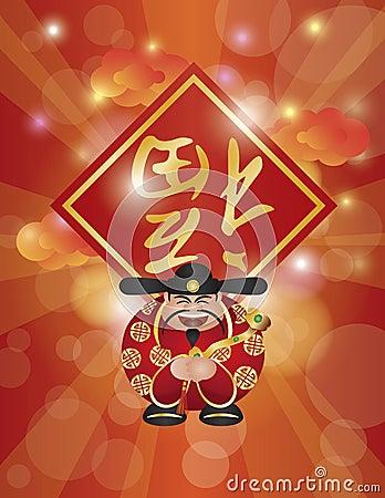ChineseMoneyGodRuyiTextBgV