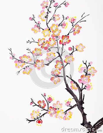 chinesische malerei der blumen pflaumenbl te lizenzfreies. Black Bedroom Furniture Sets. Home Design Ideas