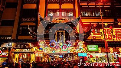 Chinesisches Neujahrsfest in Yu Garden, Shanghai, China stock video