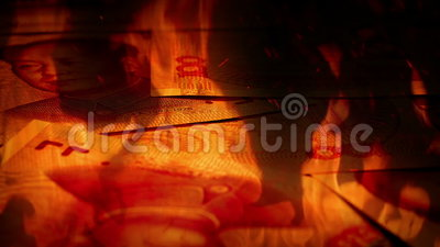 Chinois Yuan Banknotes Rotating In Fire banque de vidéos