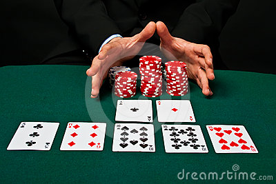Chip and cards for the poker.
