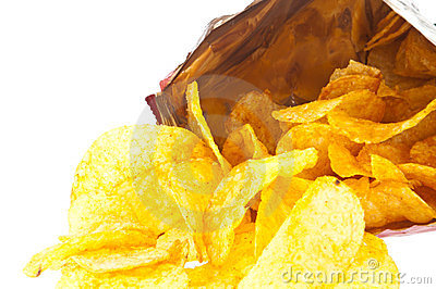 Chips in a bag (with clipping path)