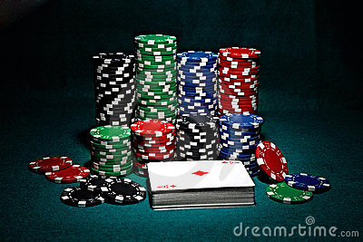 Chips for poker with cards