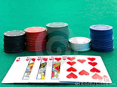 Chips stacks and playing cards