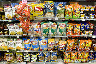 Chips on store shelves Editorial Stock Image
