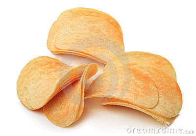 Chips on a white
