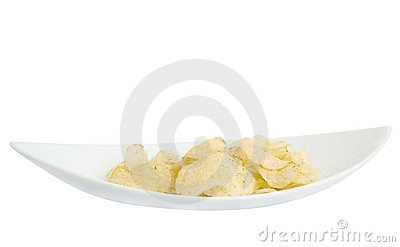 Chips on a white plate