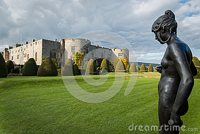 chirk castle gardens wales uk formal statue wrexham powys 61032503