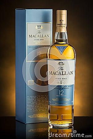Free Chisinau, Republic Of Moldova - February 20, 2017: Macallan Highland Single Malt Scotch Whisky On Yellow Background In Stock Photos - 102131763