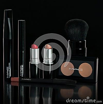 Free Chisinau, Republic Of Moldova - October 11, 2016: Set Company Mac Makeup. Lipstick, Mascara, Powder, Brush, Pencil. On A Black Bac Stock Photos - 104053293