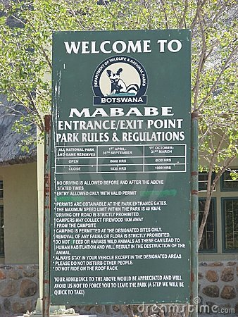 Chobe National Park, Mababe gate Editorial Image