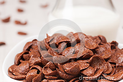 Choc flakes in a bowl, close up