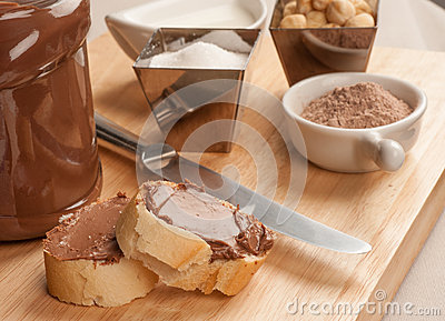 Choco spread and ingredients