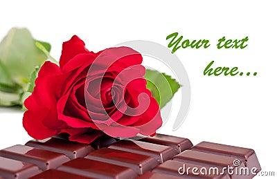Chocolate bar and rose