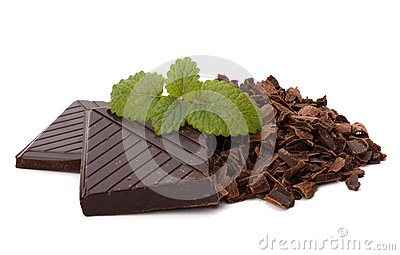 Chocolate bars and mint leaf