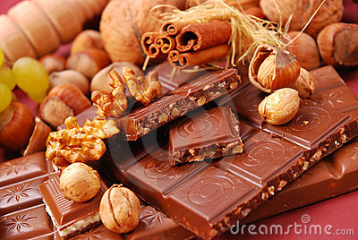 Chocolate bars with nuts and raisins
