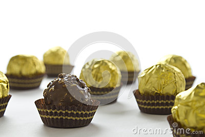 Chocolate bonbons on a white background