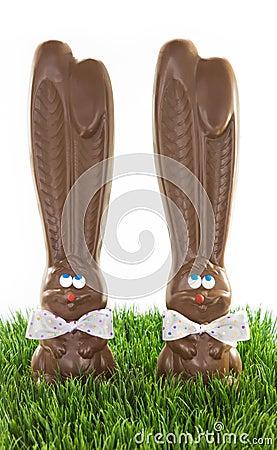 Free Chocolate Bunnies In Grass Stock Photo - 29633250