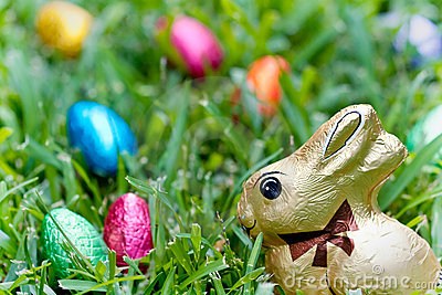 Chocolate bunny and eggs