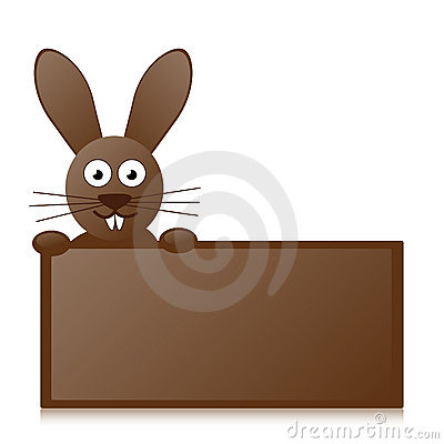 Chocolate bunny with sign