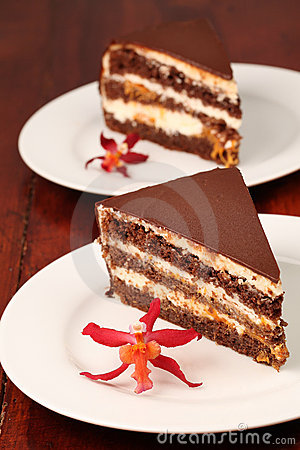 Chocolate cake with cheese and apricot jam