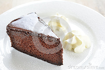Chocolate cake and cream