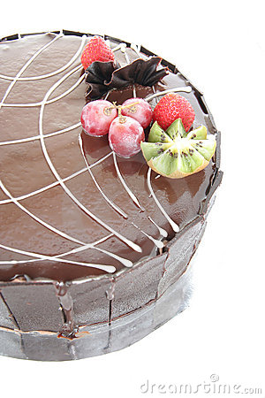 Chocolate cake with fruit garnish