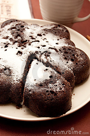 Chocolate cake with icing sugar