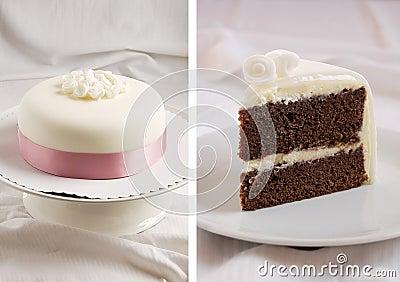 Chocolate cake with mascarpone cream and marzipan