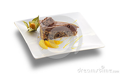 Chocolate Cake With Nuts And Orange Slices Stock Photo - Image ...