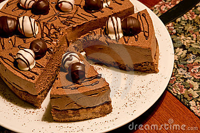 Chocolate cake on a restaurants table