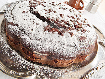 Chocolate Cake on silver tray.