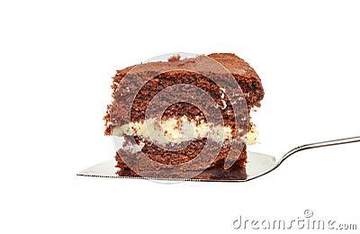 Chocolate cake on slice