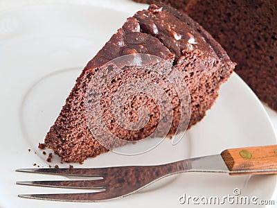 Chocolate Cake Slice at Breakfast.