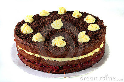 Chocolate cake with sour cherries and pudding