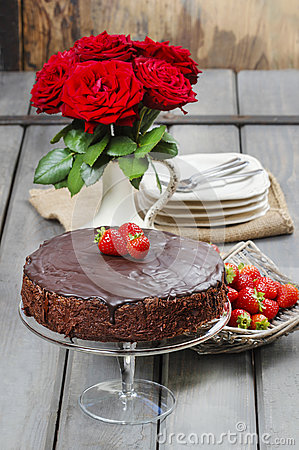 Chocolate cake with strawberries. Birthday party