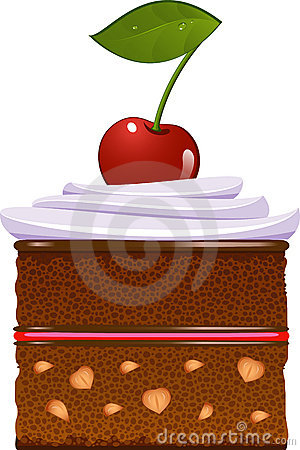 Chocolate cake with whipped cream and a cherry